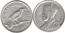 coin New Zealand 6 pence 1936