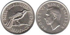 coin New Zealand 6 pence 1947
