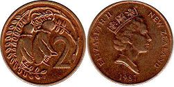 coin New Zealand 2 cents 1987