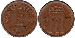 coin Norway 2 ore 1953