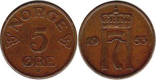 coin Norway 5 ore 1953