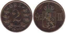 coin Norway 2 ore 1884