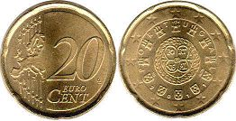 coin Portugal 20 euro cent  2011