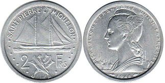 coin Saint Pierre and Miquelon 2 francs 1948