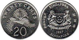 coin singapore20 cents 1997