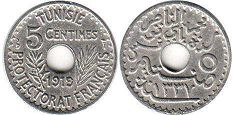 piece Tunisia 5 centimes 1919