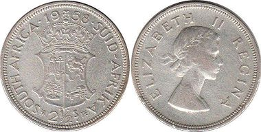 old coin South Africa 2,5 shillings 1958