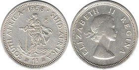 old coin South Africa 1 shilling 1958