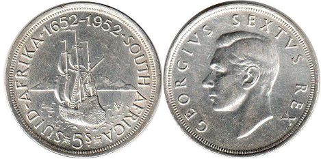 old coin South Africa 5 shillings 1952