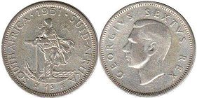 old coin South Africa 1 shilling 1951
