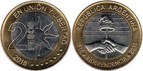 moneda Argentina 2 pesos 2016 Independencia