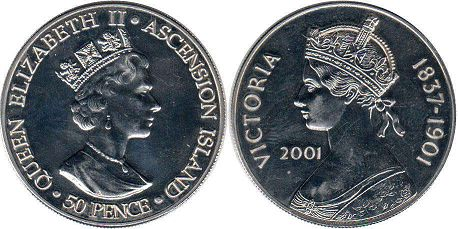 coin Ascension Island 50 pence 2001
