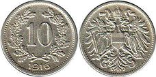 coin Austrian Empire 10 heller 1916