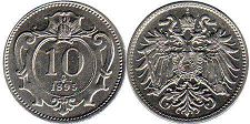 coin Austrian Empire 10 heller 1895