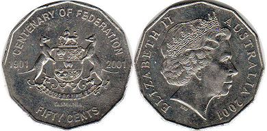 australian commemmorative coin 50 cents 2001
