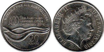 australian commemmorative coin 20 cents 2010