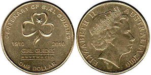 australian commemmorative coin 1 dollar 2010