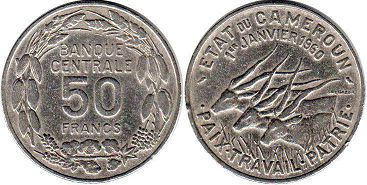 coin Cameroon 50 francs 1960