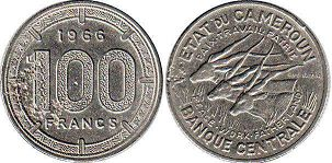 coin Cameroon 100 francs 1966