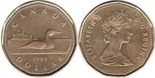 canadian coin 1 dollar 1989