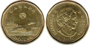 canadian coin 1 dollar 2012 loonie