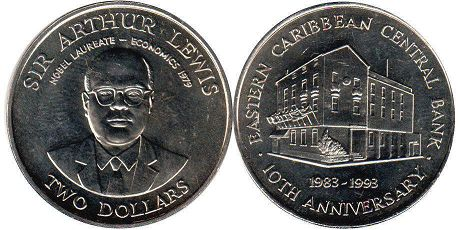 coin Eastern Caribbean States 2 dollars 1993