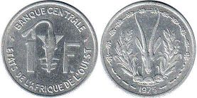coin West African States 1 franc 1975