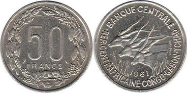 coin Equatorial African States 50 francs 1961