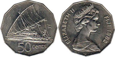 coin Fiji 50 cents 1982