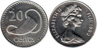 coin Fiji 20 cents 1982