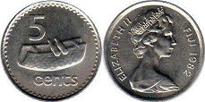 coin Fiji 5 cents 1982