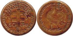 coin French Equatorial Africa 50 centimes 1943