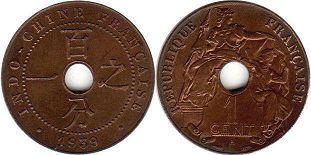coin French Indochina 1 cent 1939