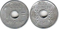 coin French Indochina 1 cent 1943