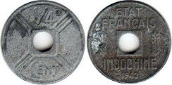 coin French Indochina 1/4 cent 1942