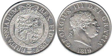 coin UK old coin half crown 1819