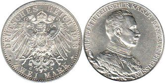 coin German Empire 2 mark 1913
