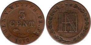 coin Westphalia 3 centimes 1812