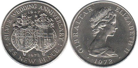 coin Gibraltar 25 new pence 1972