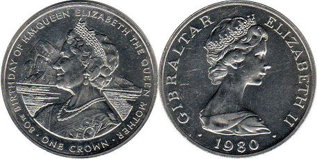 coin Gibraltar crown 1980