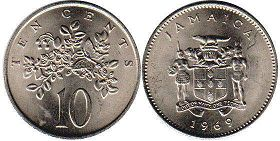 coin Jamaica 10 cents 1969