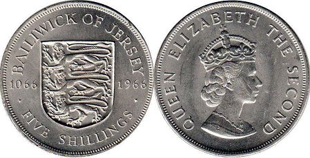 coin Jersey 5 shillings 1966