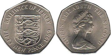 coin Jersey 50 new pence 1969