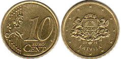 coin Latvia 10 euro cents 2014