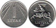 coin Lithuania 1 litas 1991