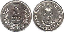 coin Luxembourg 5 centimes 1924
