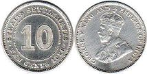 coin Straits Settlements 10 cents 1926