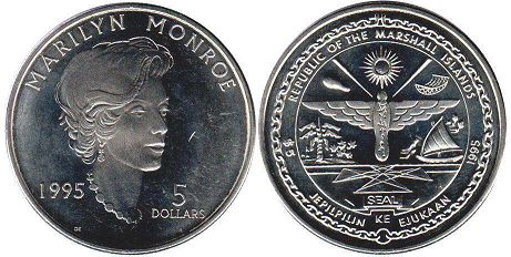 coin Marshall Islands 5 dollars 1995