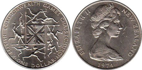 coin New Zealand 1 dollar 1974