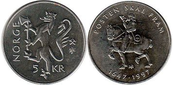 coin Norway 5 kroner 1997